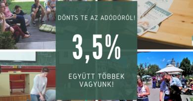 Kérünk, hogy segítsd tevékenységeinket adód 3,5%-val!
